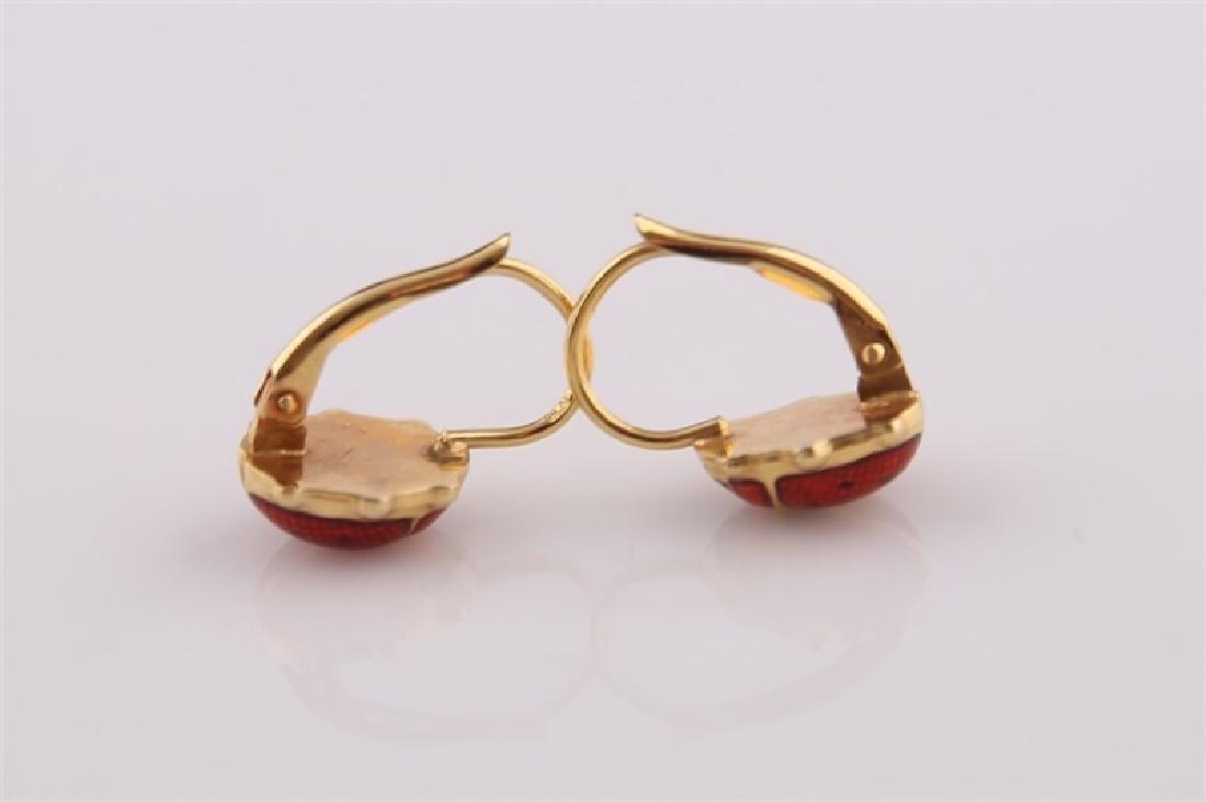 14kt Yellow Gold and Enamel Ladybug Earrings - 3