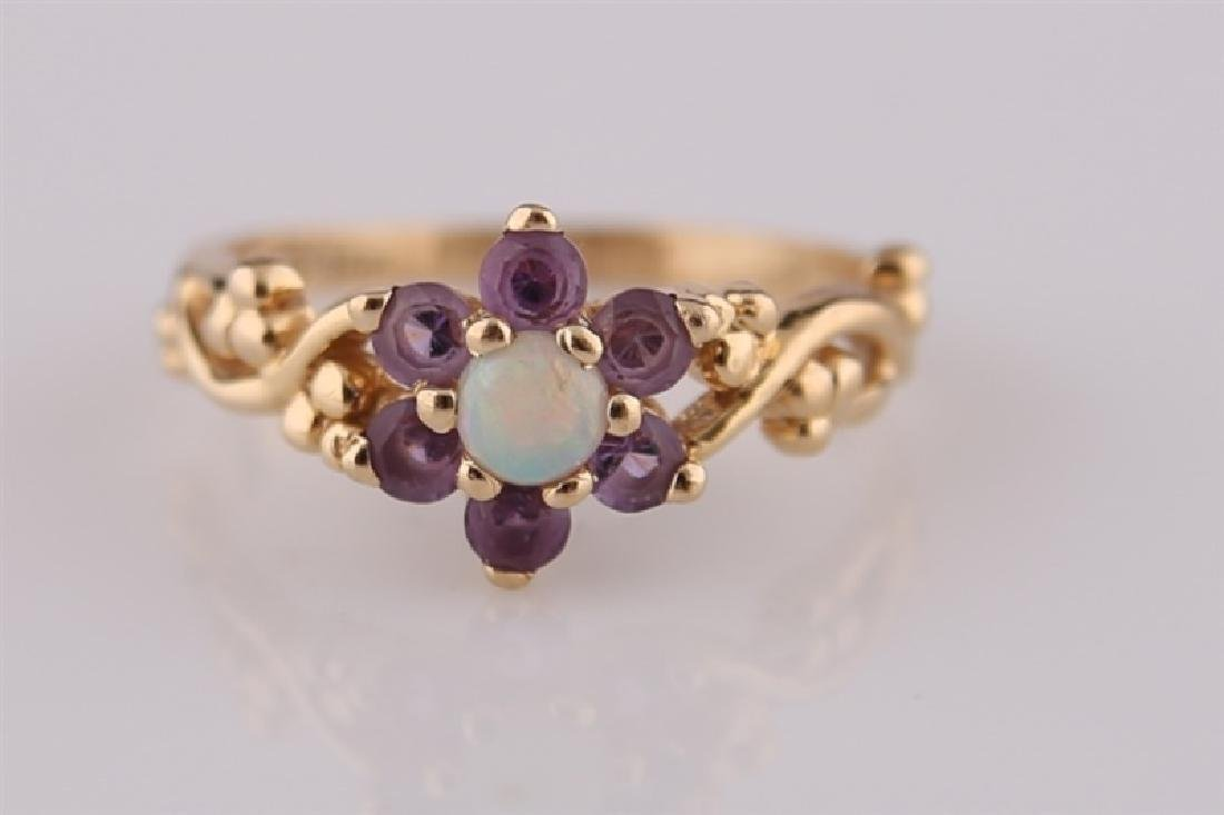 14kt Yellow Gold, Opal, and Amethyst Ring