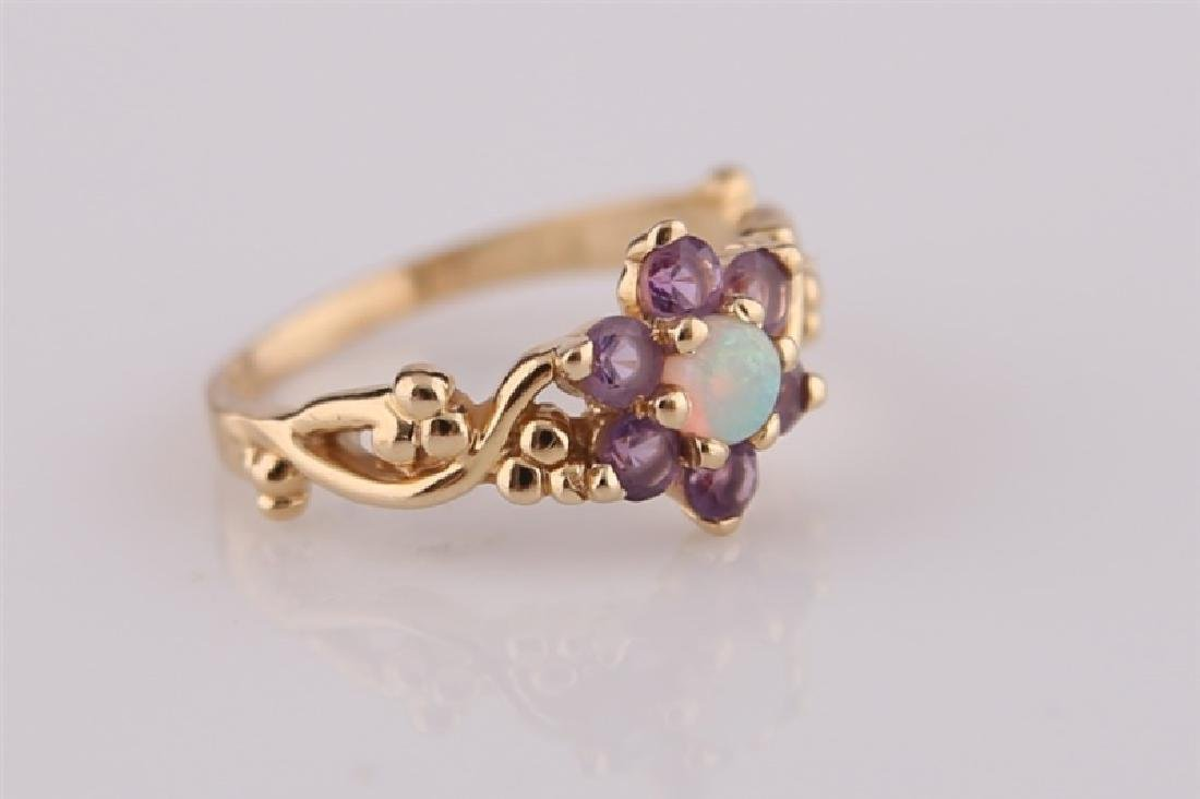 14kt Yellow Gold, Opal, and Amethyst Ring - 2