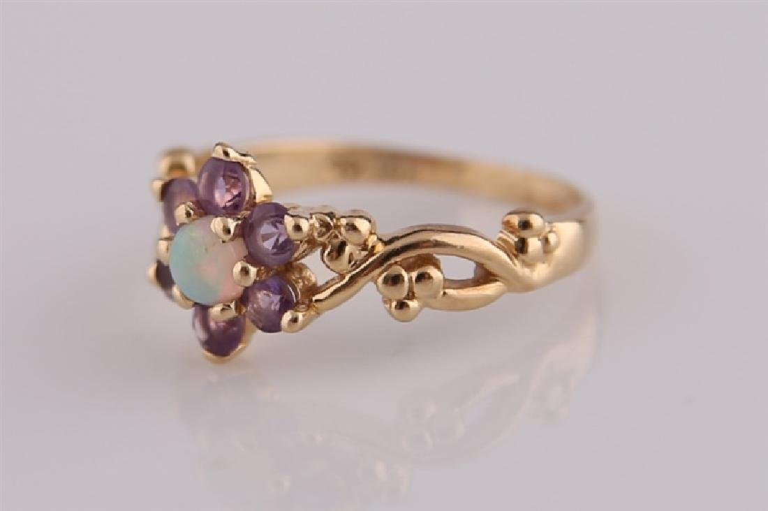 14kt Yellow Gold, Opal, and Amethyst Ring - 3