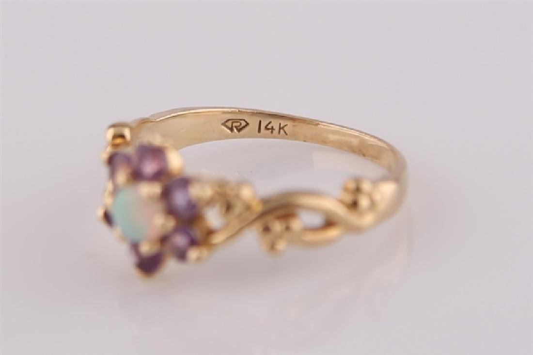 14kt Yellow Gold, Opal, and Amethyst Ring - 4