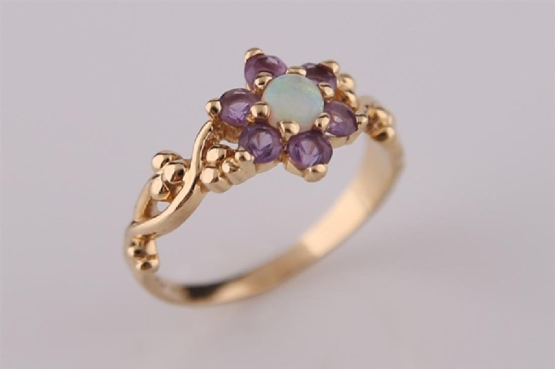 14kt Yellow Gold, Opal, and Amethyst Ring - 5