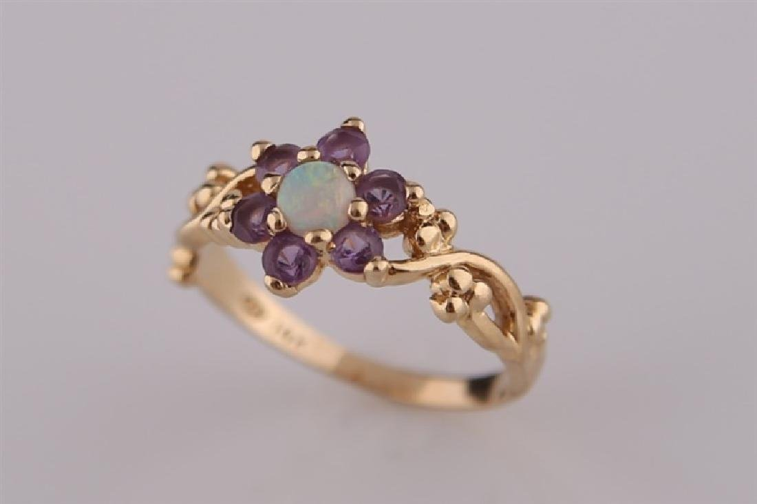 14kt Yellow Gold, Opal, and Amethyst Ring - 6