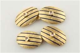 18kt Yellow Gold, Enamel, Diamonds Cufflinks