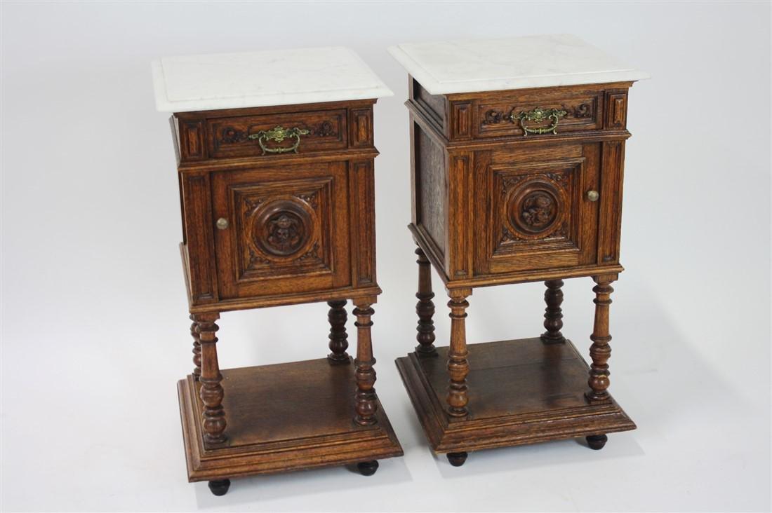 Pair of Henri II Style Marble Top Nightstands