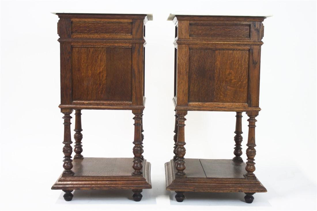 Pair of Henri II Style Marble Top Nightstands - 7