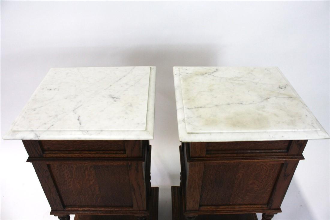 Pair of Henri II Style Marble Top Nightstands - 8