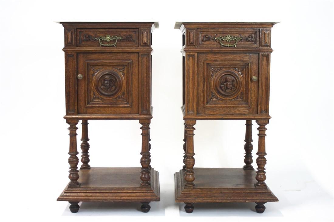 Pair of Henri II Style Marble Top Nightstands - 9