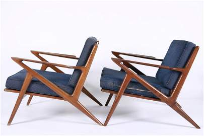 "Poul Jensen for Selig, Pair of ""Z"" Lounge Chairs"