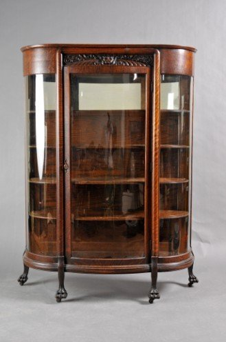 3: Victorian Oak and Glazed Cabinet