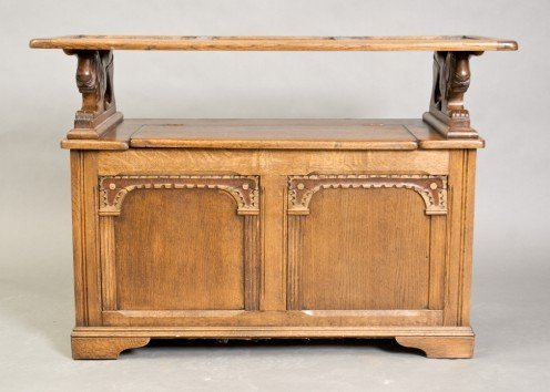 5: Jacobean Style Oak Chest with Shelf Over Hinged Case