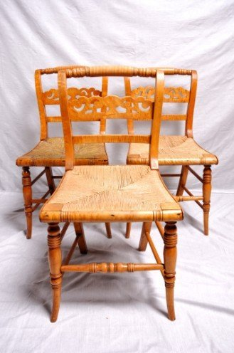 7: Chair-Side (3); Sheraton, Curly Maple, Rush Seat