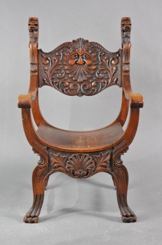 8: Chair-Arm; Savonarola (Style), Oak, Carved