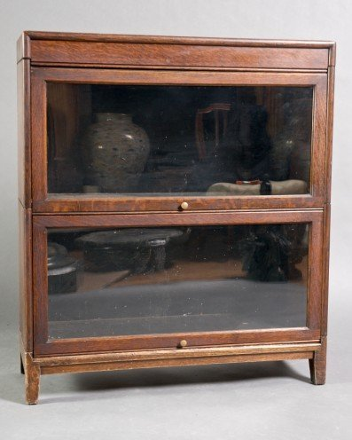 10: Late Victorian Oak and Glazed Barrister Bookcase