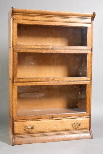 11: Late Victorian Oak Glazed Barrister Bookcase