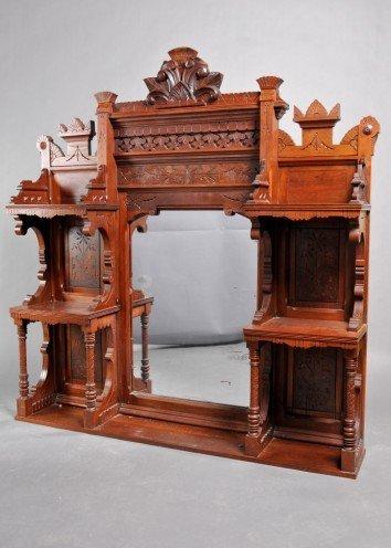 16: Victorian Eastlake Walnut Mirror Shelf