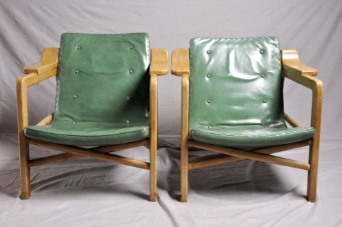 18: Widdicomb Side Chairs (2) with Green Seat