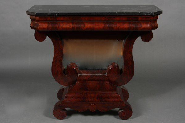 1: American Empire Mahogany Marble Top Pier Table, 3rd
