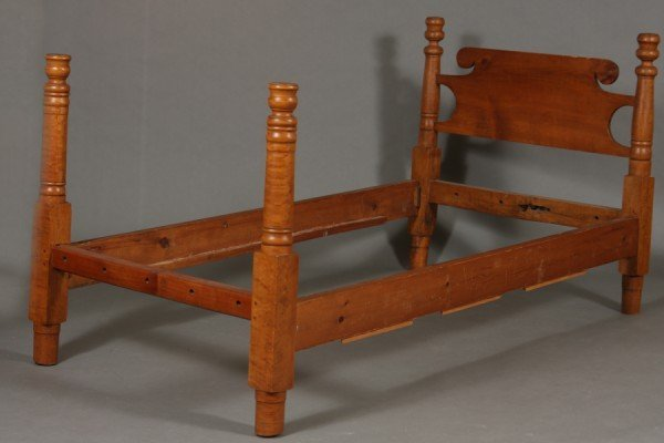 7: American Primitive Pine Twin Bed, 19th Century