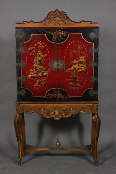 19: George II Style Chinoiserie Lacquered Cabinet on St