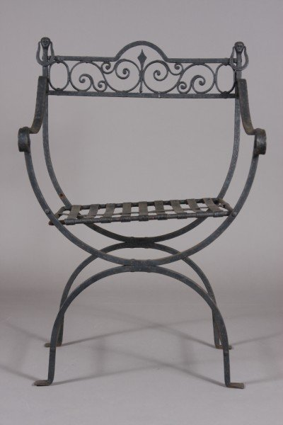 5: Neo-Classical Style Black Painted Iron Chair, 20th C
