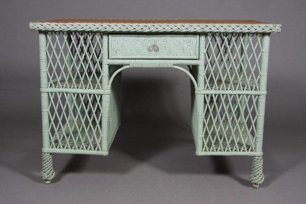 7: Victorian Style Blue Painted Wicker Desk, 20th Centu