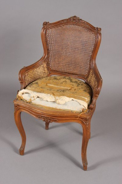 8: Louis XV Style Beechwood Bergere, Continental, Early
