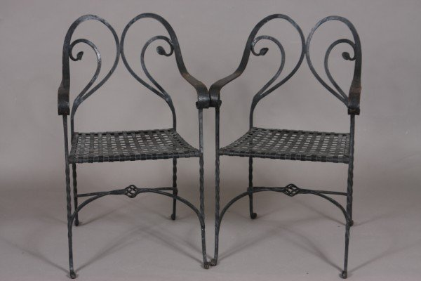 11: Pair of Victorian Style Black Painted Iron Garden O