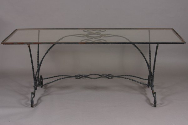 12: Victorian Style Painted Iron Table with Glass Top,