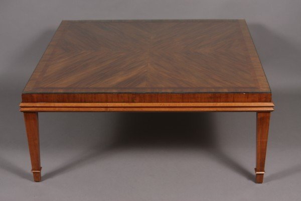 13: Contemporary Flame Mahogany Cocktail Table, 20th Ce
