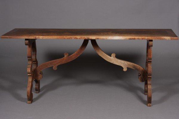 18: Baroque Style Walnut Trestle Base Console Table, 20