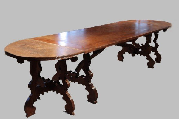 19: Baroque Style Walnut Trestle Base Dining Table, wit