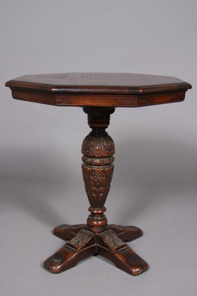 22: Jacobean Style Oak Side Table with Octagonal Top, 2