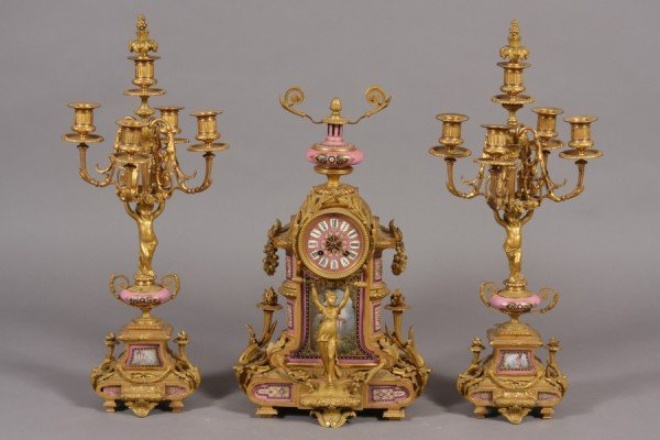 252: Second Empire Gilt Bronze Mounted Porcelain Clock