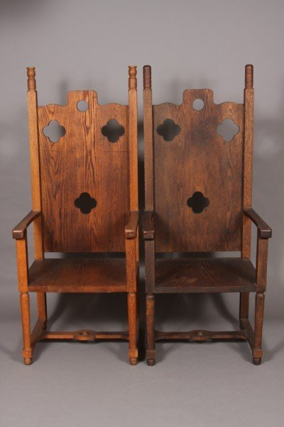 1: Two Arts and Crafts Oak High Back Chairs, American,