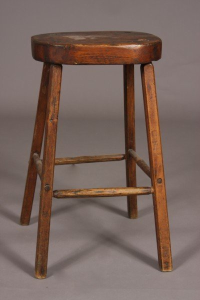 7: Primitive Pine Stool, American, 19th Century