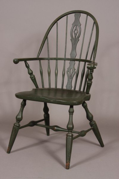 8: Colonial Style Painted Windsor Arm Chair, American,