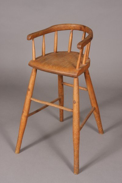 12: Primitive Birch Child's High Chair, American, 19th