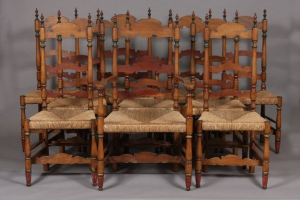 15: Ten Colonial Style Poplar and Painted Chairs, 20th