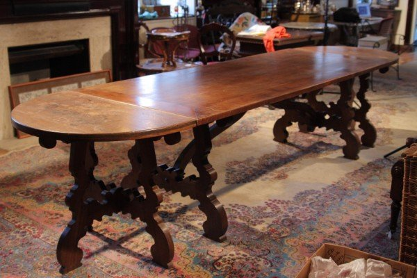 16: Baroque Style Walnut Trestle Base Dining Table, wit