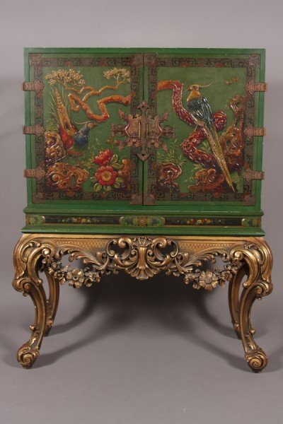 19: Regence Style Lacquered and Gilt Wood Cabinet, Amer