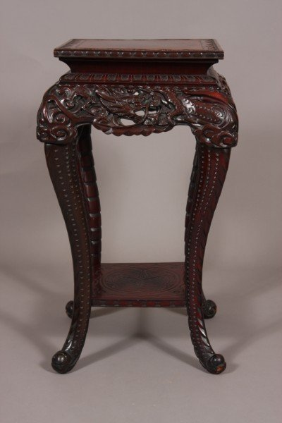 20: Carved Hardwood Stand, Chinese, 20th C. Square Top,