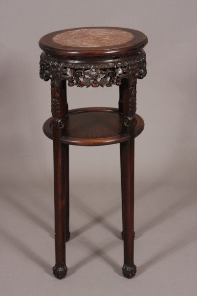 21: Carved Hardwood Stand, Chinese, 20th C., Round Marb
