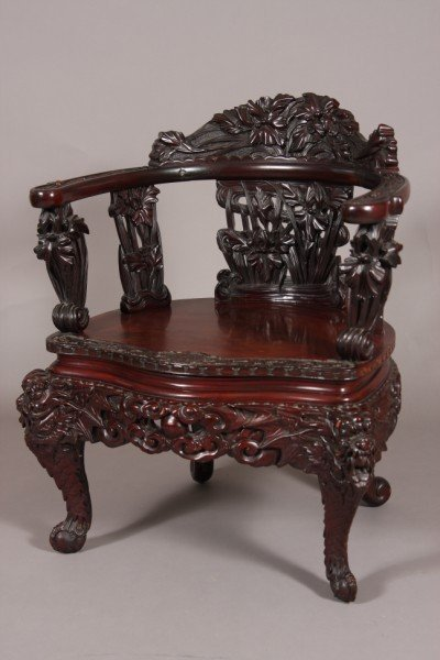 22: Carved Hardwood Open-Arm Chair, Chinese, 20th Centu