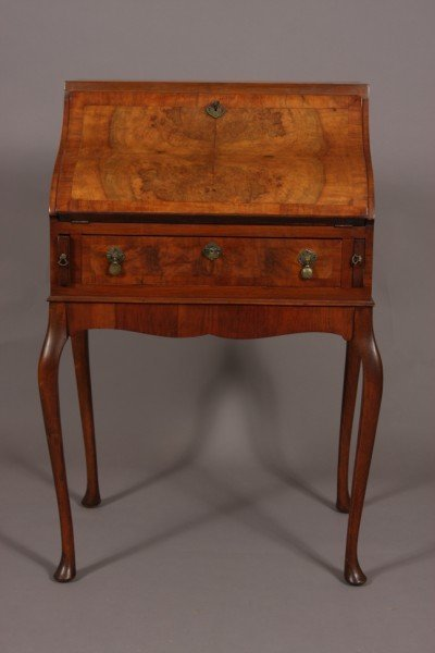 24: Baroque Style Burl Walnut Desk, Continental, 20th C