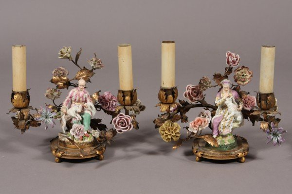 320: Pair Rococo Style Brass and Porcelain Figural Cand