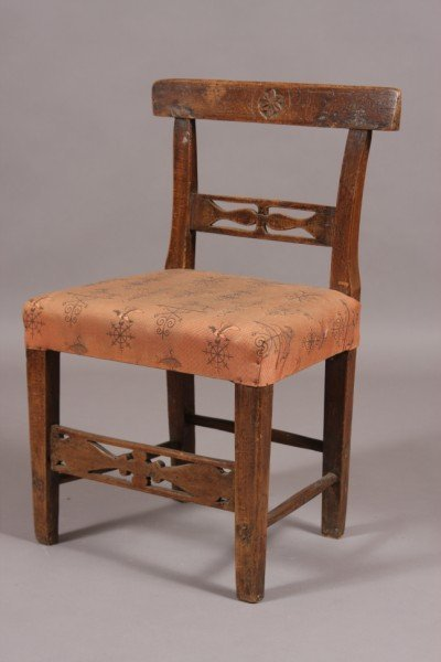 1: Provincial Fruitwood Small Chair, Continental, 19th