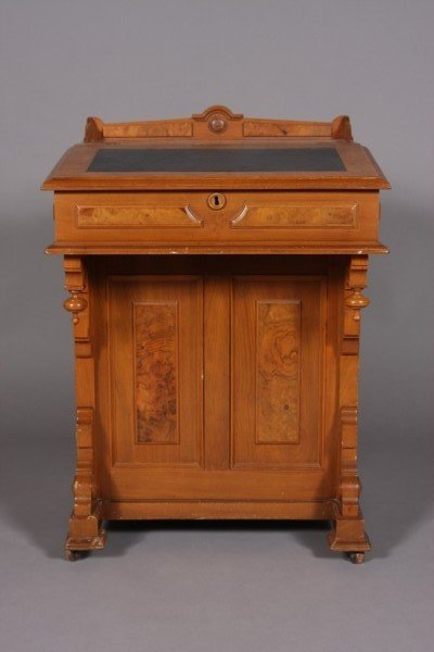 3:Burl & Walnut Davenport Desk, American
