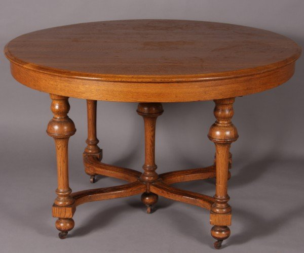 5: William & Mary Style Oak Dining Table, American, Lat