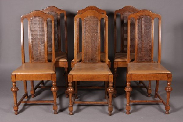 6: Set of Six William & Mary Style Oak Dining Chairs
